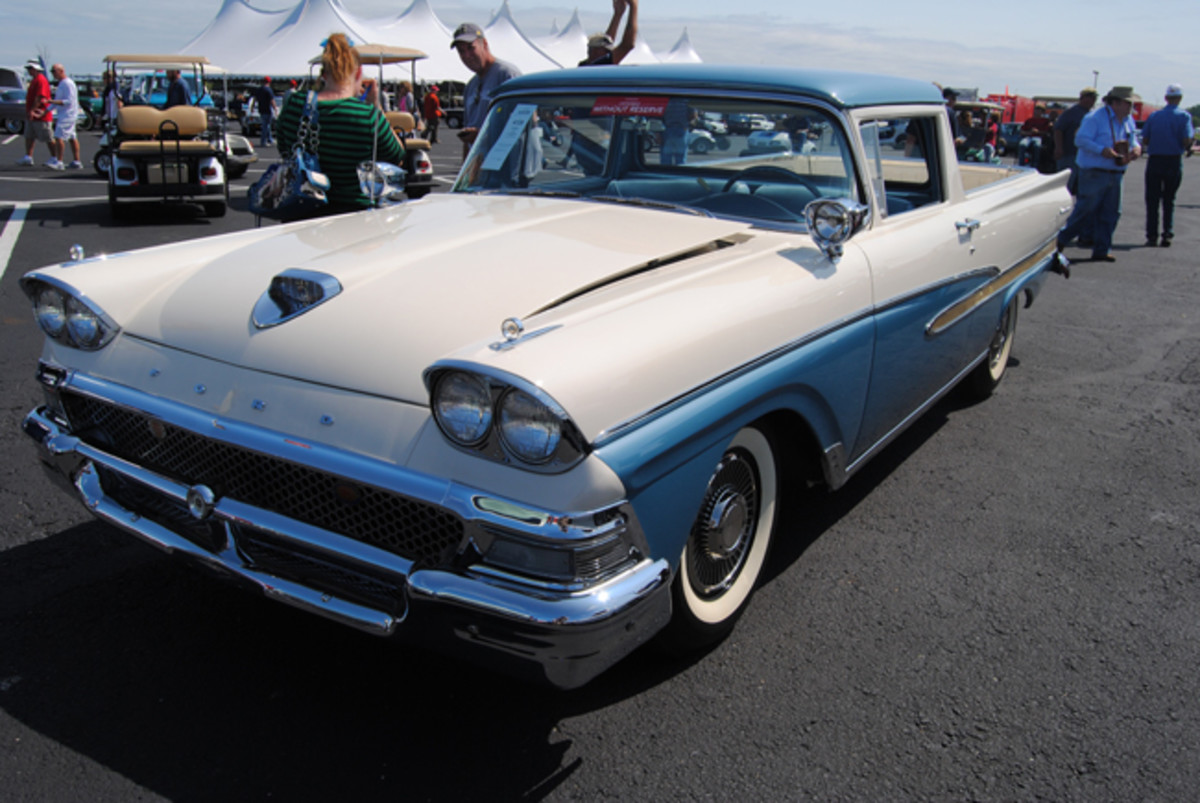Sold for a bid of $92,500 at Auctions America's Fall Auburn sale, the new owner of this stunning 1958 Ford Ranchero was going to drive it to a car show the very next day.