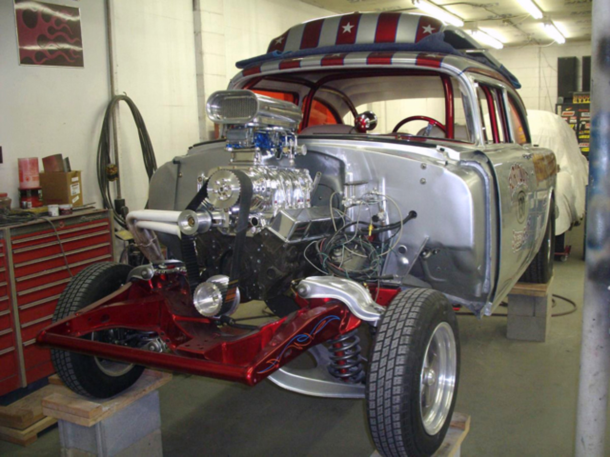 Tri-Five Chevy gassers are becoming a specialty of the house in Fondy.