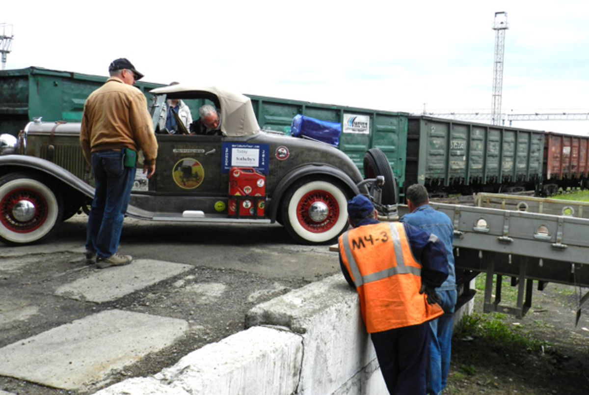 The Plymouth had to be loaded on a truck in order to enter China.
