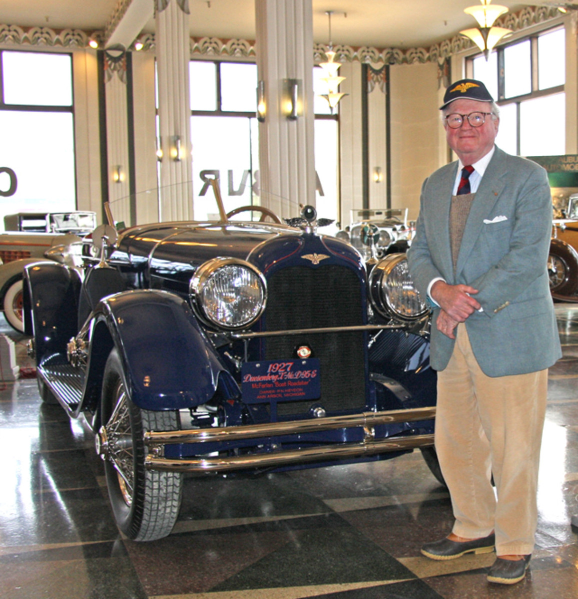 Peter Heydon of Ann Arbor, Michigan placed the 1927 Duesenberg Model X Speedster he donated to the permanent collection of the Auburn Cord Duesenberg Automobile Museum in its art deco showroom Friday morning. It is now on display for visitors to admire and relish in its uniqueness.