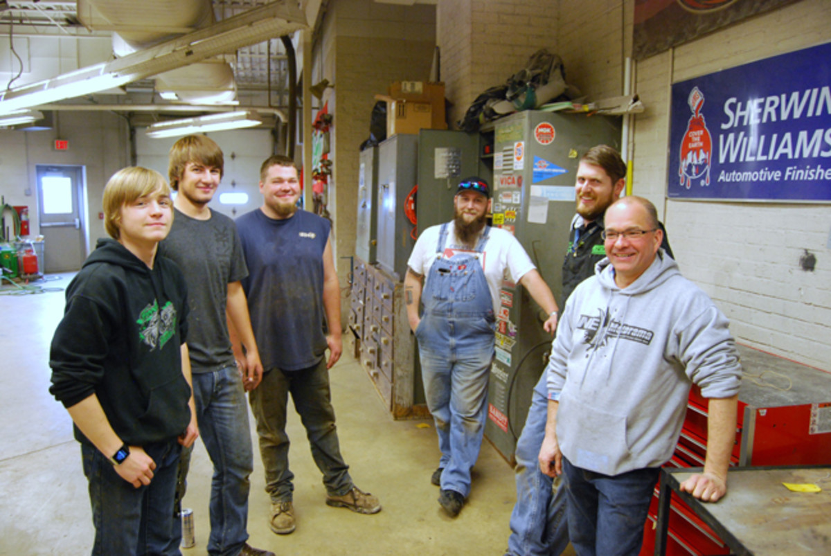 The team working on the car in late May included (l. to r.) Tim Van Veghel, Trevor Hintz, Cole Woods, Justin Hendrickson, Jay Abitz and Rick Paulick.