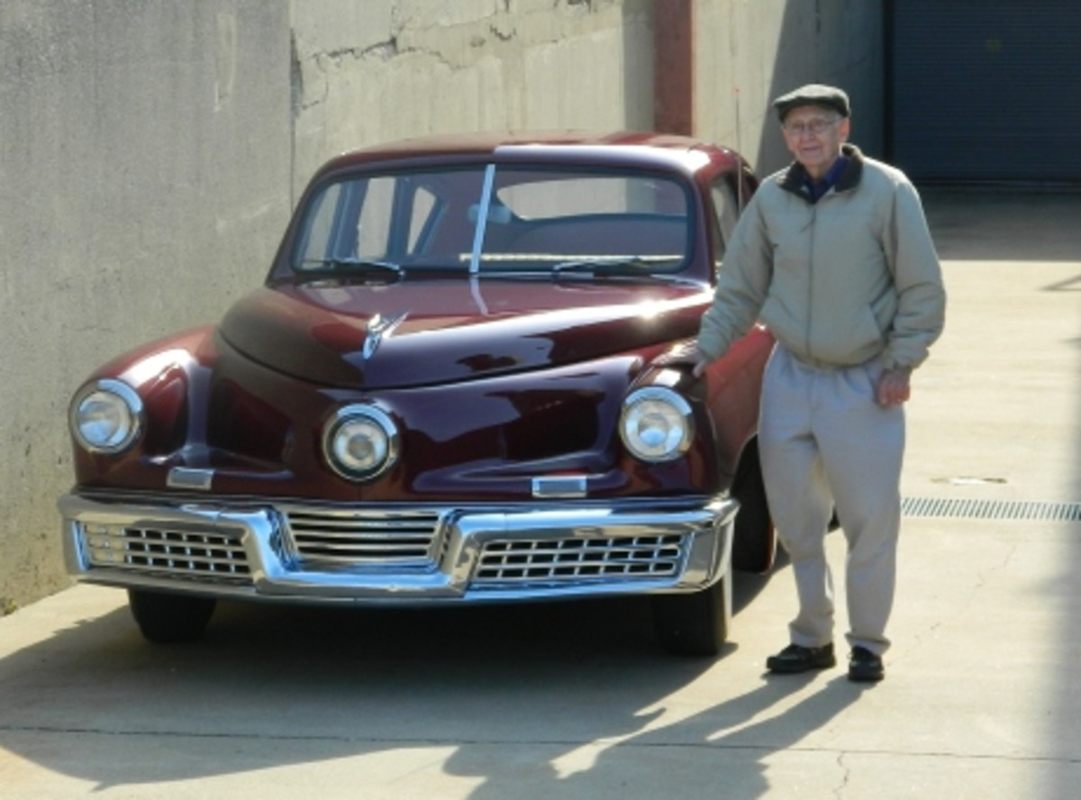 Rudolph Schroeder and the Tucker he won in a 1949 VFW raffle. The picture was taken Nov. 18, 2011, at the Tucker plant where Preston Tucker was once photographed with one of his automobiles.