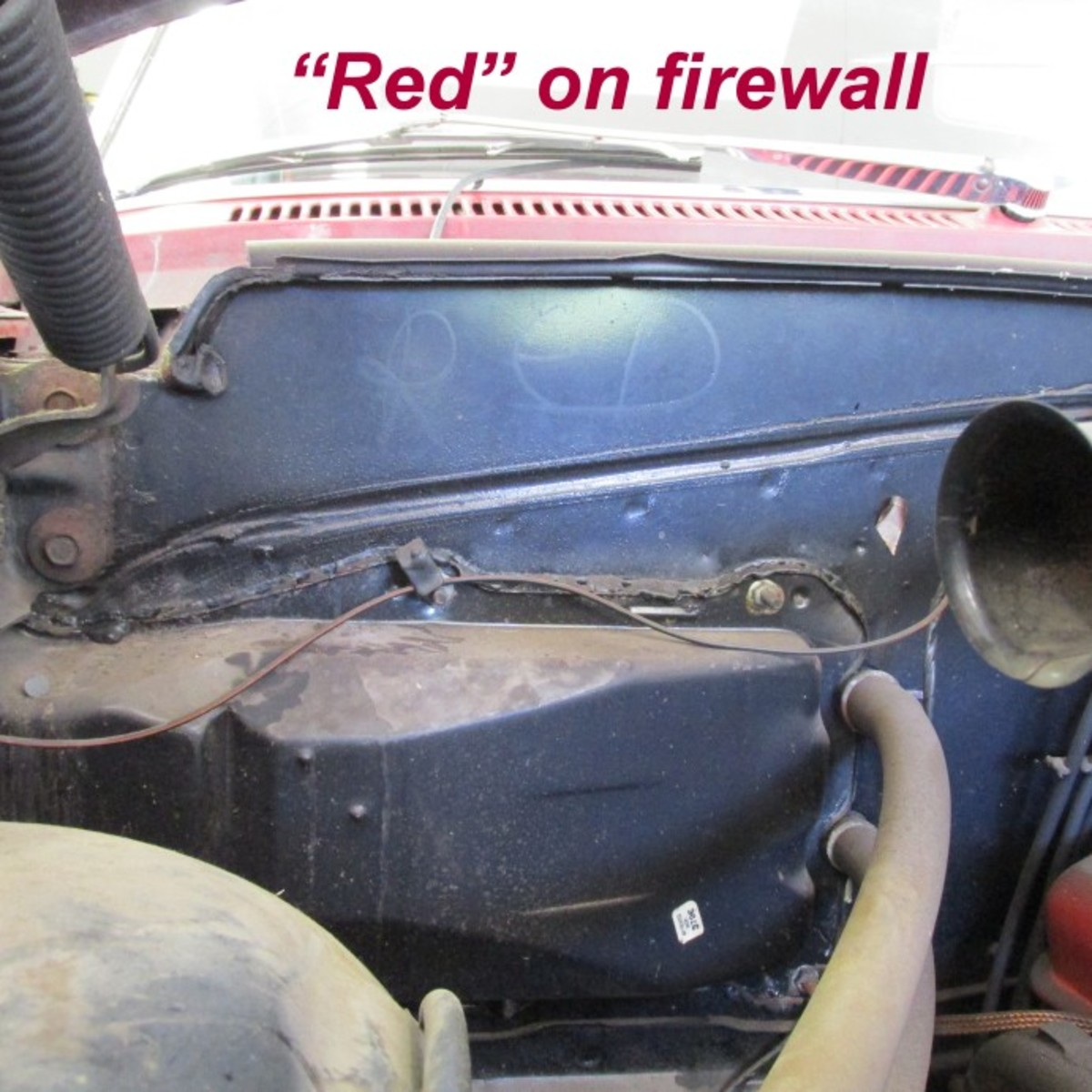 """Leidich learned from former GM employees who assembled Chevrolets in GM's Janesville, Wis., plant that the """"Red"""" notation on the firewall indicated the interior color to be installed in the car."""