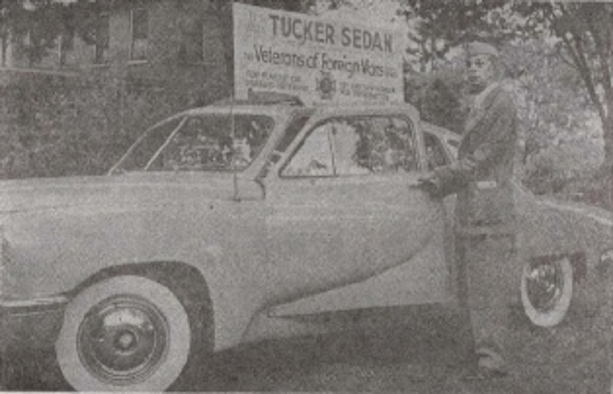An old newspaper image of the Tucker Schroeder won in the VFW raffle in 1949.