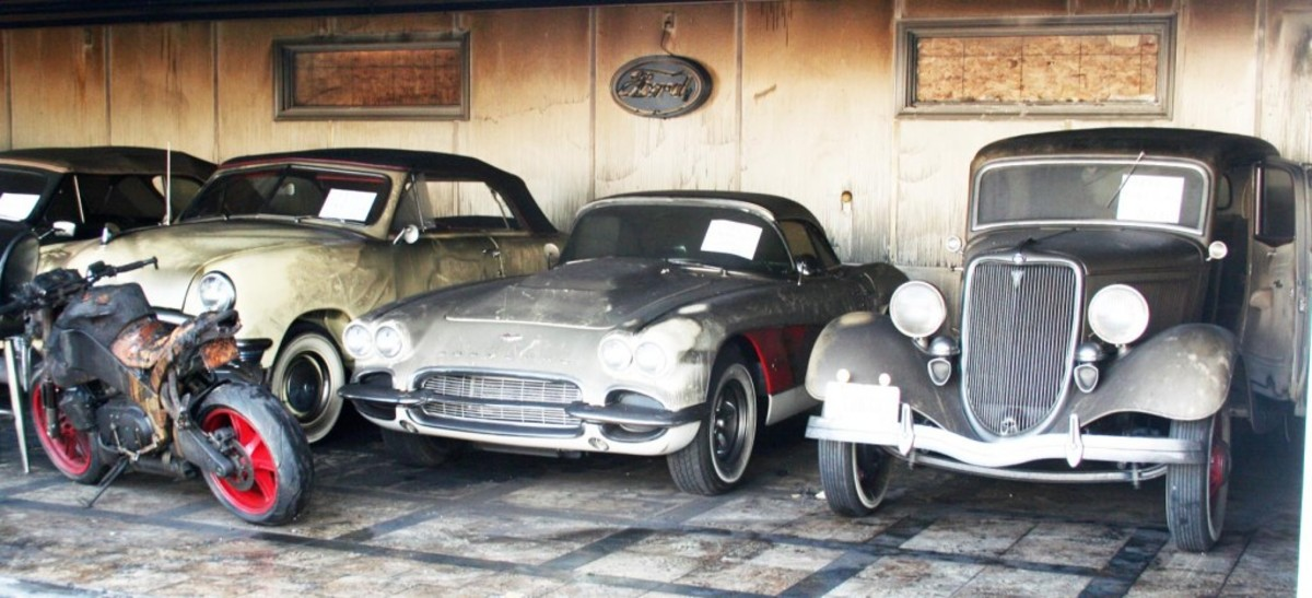 (Right to left: 1934 Ford Tudor and 1961 Corvette from #2 plus) … 1950 Ford convertible was an Early Ford V-8 Club Dearborn Award winner.