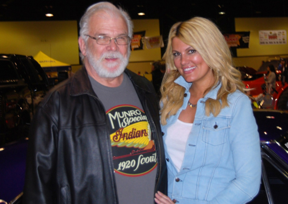 Courtney Hansen with the writer at the New Motorama Show in Green Bay, Wis., last April.