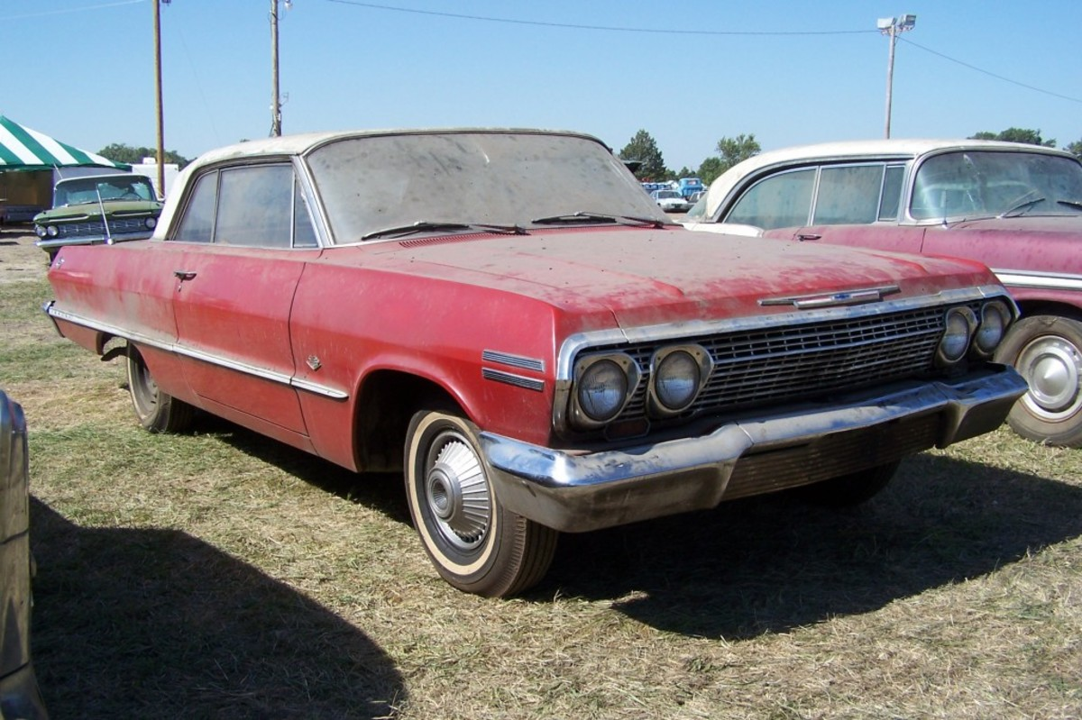 1963 Impala Sport Coupe at the sale of the Ray Lambrecht Collection the day before the sale in Pierce, Nebraska, in 2013.