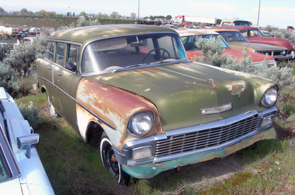 This 1956 Chevrolet Two-Ten station wagon has donated its front bumper, but aside from some glass issues, it is solid. Possibly a candidate for a rat rod grocery getter?