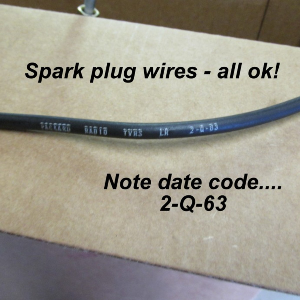 After the wires were cleaned, they were reinstalled. Leidich found one plug wire with a 1962 date code - the factory probably installed this leftover because it used whatever was on hand to push cars along the assembly line as quickly as possible.