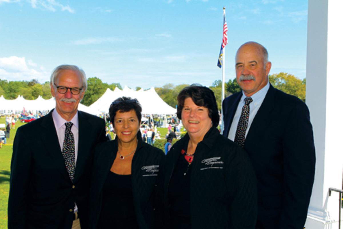The Fairfield County Concours d'Elegance chairman and co-founder Bill Scheffler, Ann Sheffer, Susan Shuck and president and co-founder John Shuck.