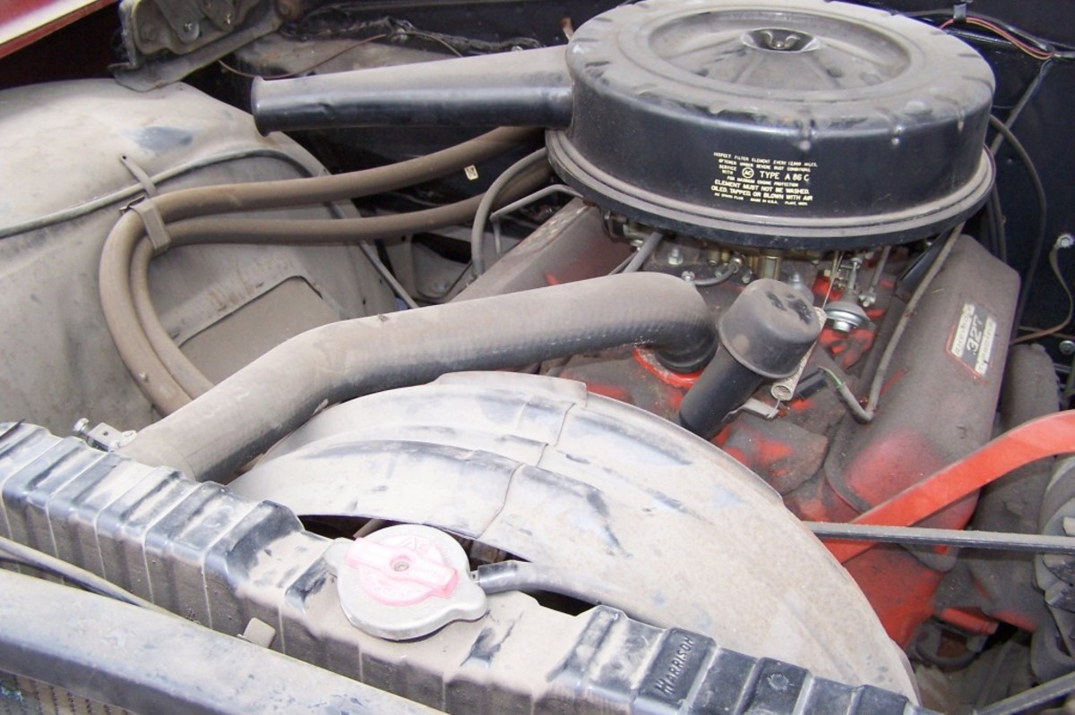 The 300-hp Turbo-Fire 327 V-8 engine as it appeared at the sale. Note the radiator cap is not the type usually found on 1963 Chevrolet passenger cars - it is a truck unit probably installed when the factory ran out of passenger car units to keep the assembly line moving.