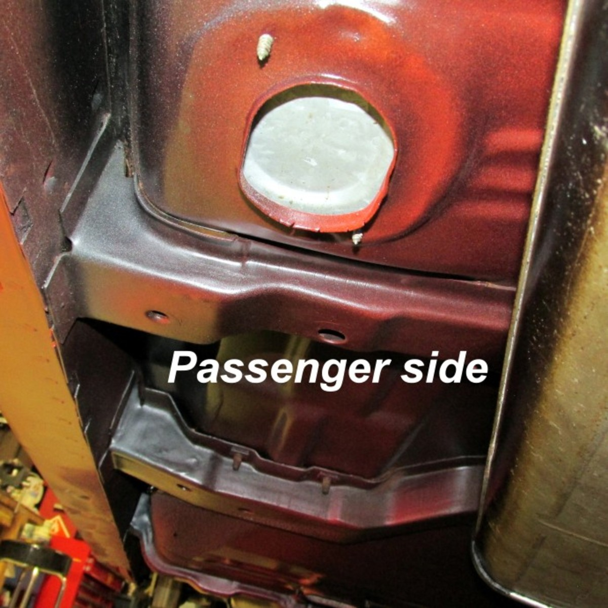 Passenger floor pan detail. Note the pattern of the paint spray.