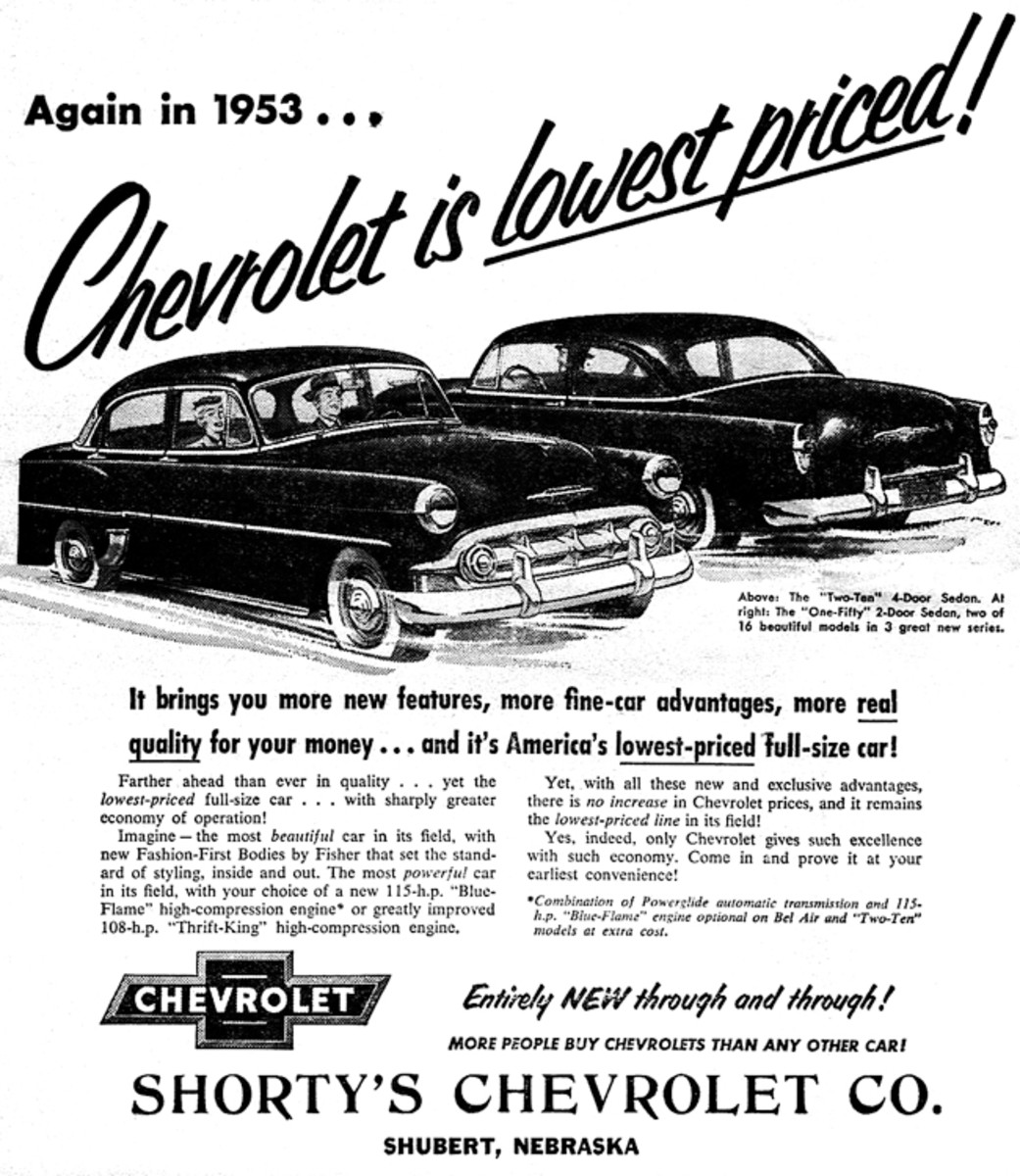 In 1953 Chevy was going after the frugal buyer in this advertisement.
