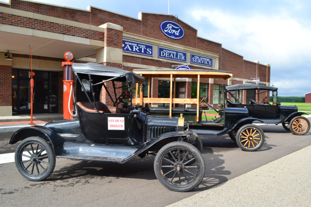 """The Gilmore Car Museum has a fleet of seven authentic Model T Fords that are utilized in their """"Old School"""" driving classes. Shown are a 1915 Runabout, 1917 Touring car and 1919 Depot Hack. Photo - Gilmore Car Museum"""