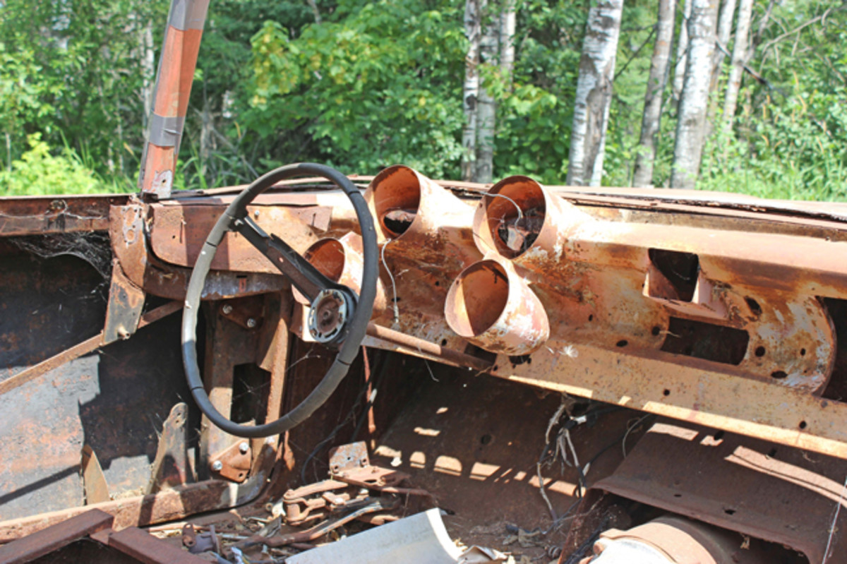 The interior of the XM-Turnpike Cruiser is gutted and much of the exterior trim has been removed, but it was saved and was part of new owner Tom Maruska's purchase.