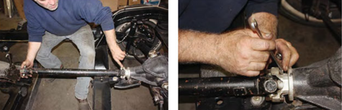 "The small driveshaft is only about 10lbs. It is held in place with traditional U-joints. Two U-bolts go on each end of the driveshaft, fitting into the yoke on the rear of the transmission and the yoke on the rear end. ""Just don't drop it, and if you do, take it out and secure the ends with duct tape or whatever you want, just make sure you keep all the needles in it. I always wrap them with duct tape because there are like 50 needles in there. If you drop it on the floor and get the mall of the place, you've got to replace the whole joint because you're never going to find every one of them…Overall, it's pretty straight forward. If you took it out, you can put it back in."""