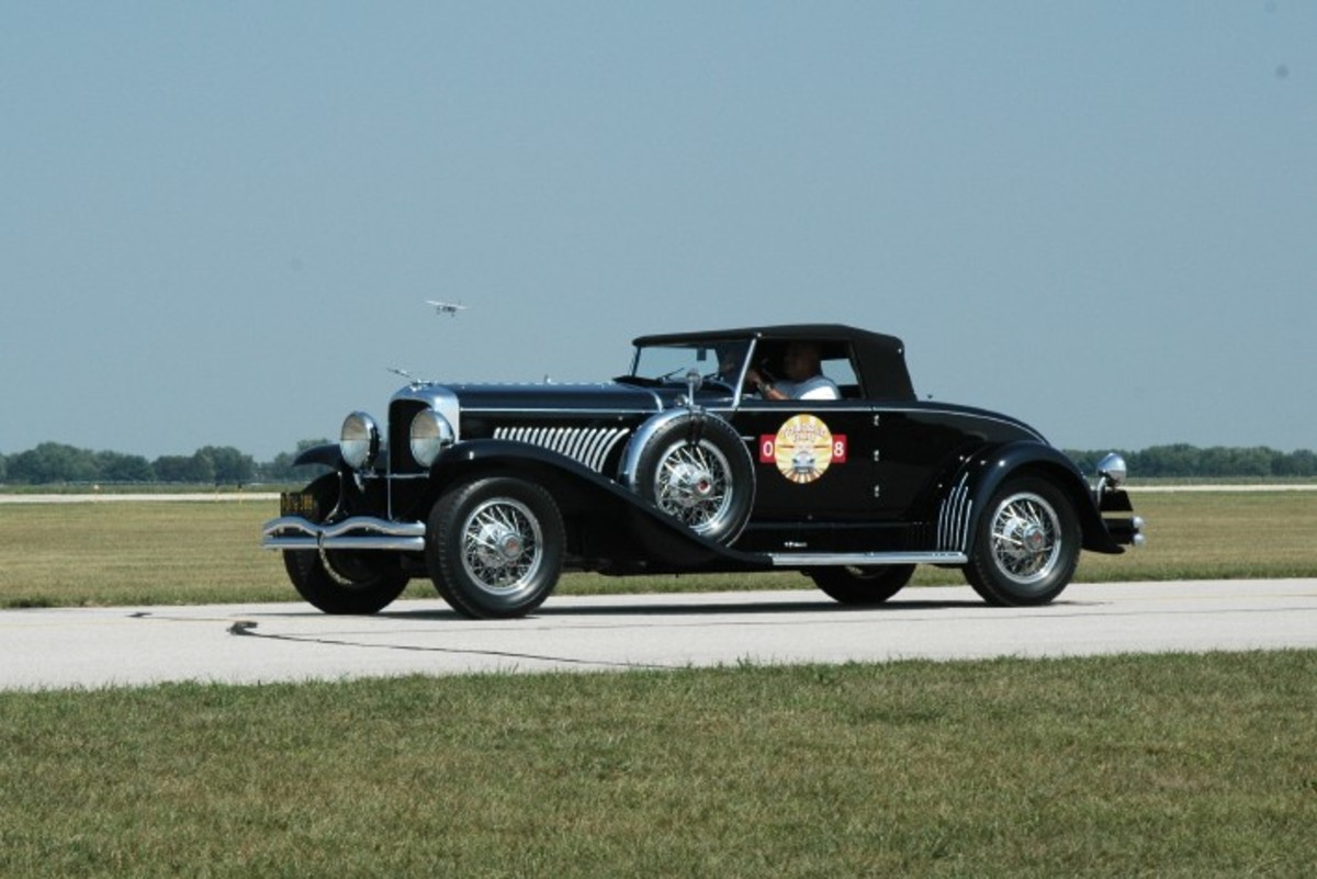 A Murphy convertible coupe at the Goshen Municipal Airport during the Duesenberg Thunder Run & Vintage Fly-In.