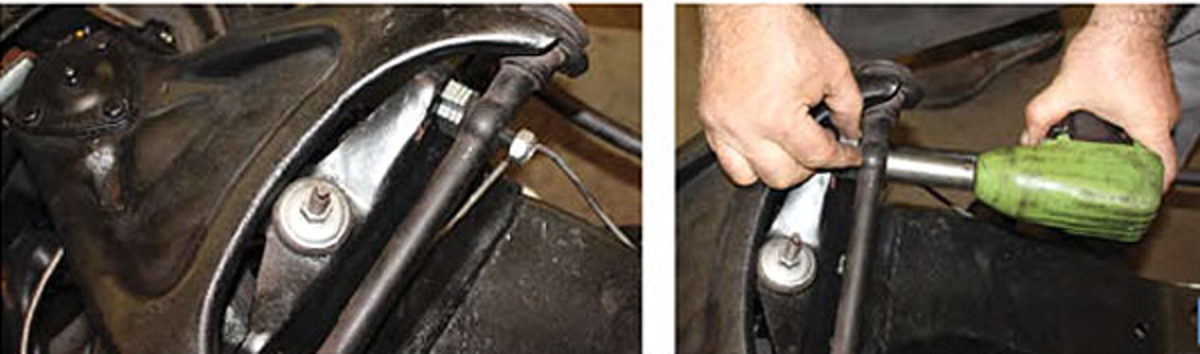 "They are placed on the bolt that secures the ""A"" arm link. ""I do it as a courtesy for the next guy who touches the car,"" Walter says. "" We eyeball them as best we can or you can run them trough a patch of water and see what kind of pattern you get. Or you can put a level on top of each tire, and when the bubble is level you know you're close."""