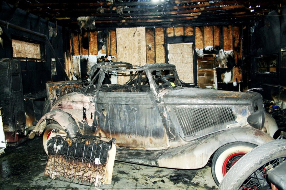 This 1934 Ford was among the casualties of the blaze that hit Jerry Vincentini's collector car facility in Omaha, Neb., Jan. 15.