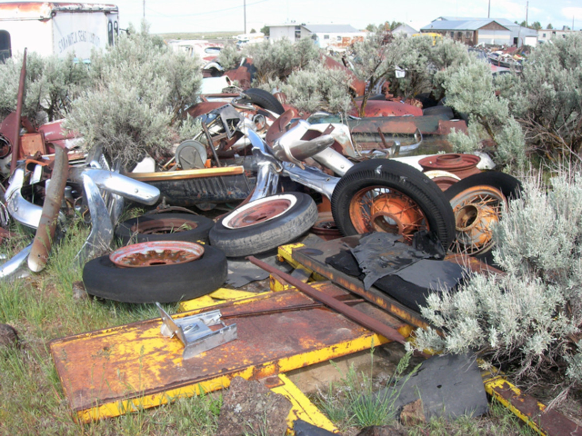 Piles of parts are randomly scattered throughout L&L Classic Auto acreage. Think of it as an automotive scavenger hunt!