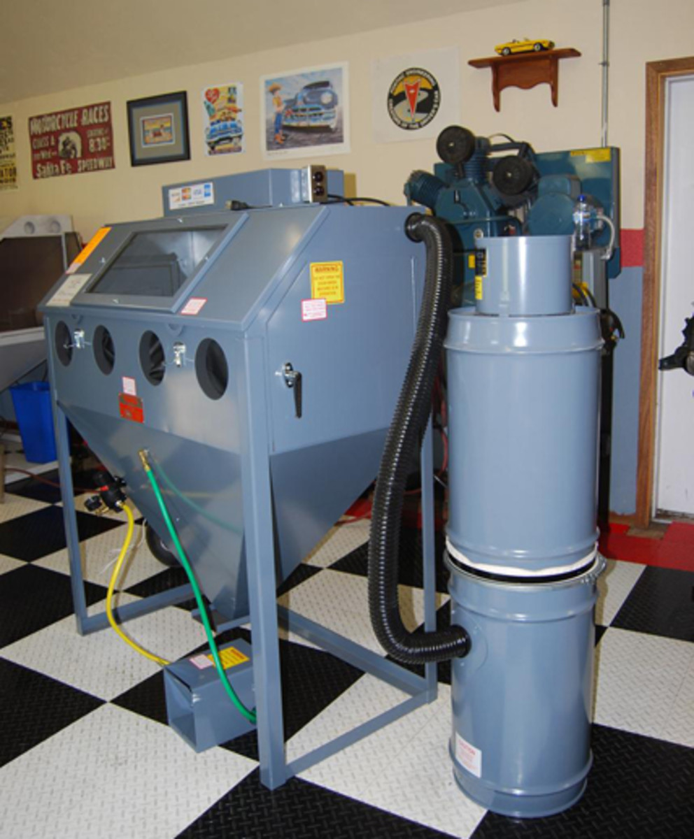 We have two blasting cabinets in our shop, a larger Eastwood unit and a smaller one from Metal Finishing Supply.