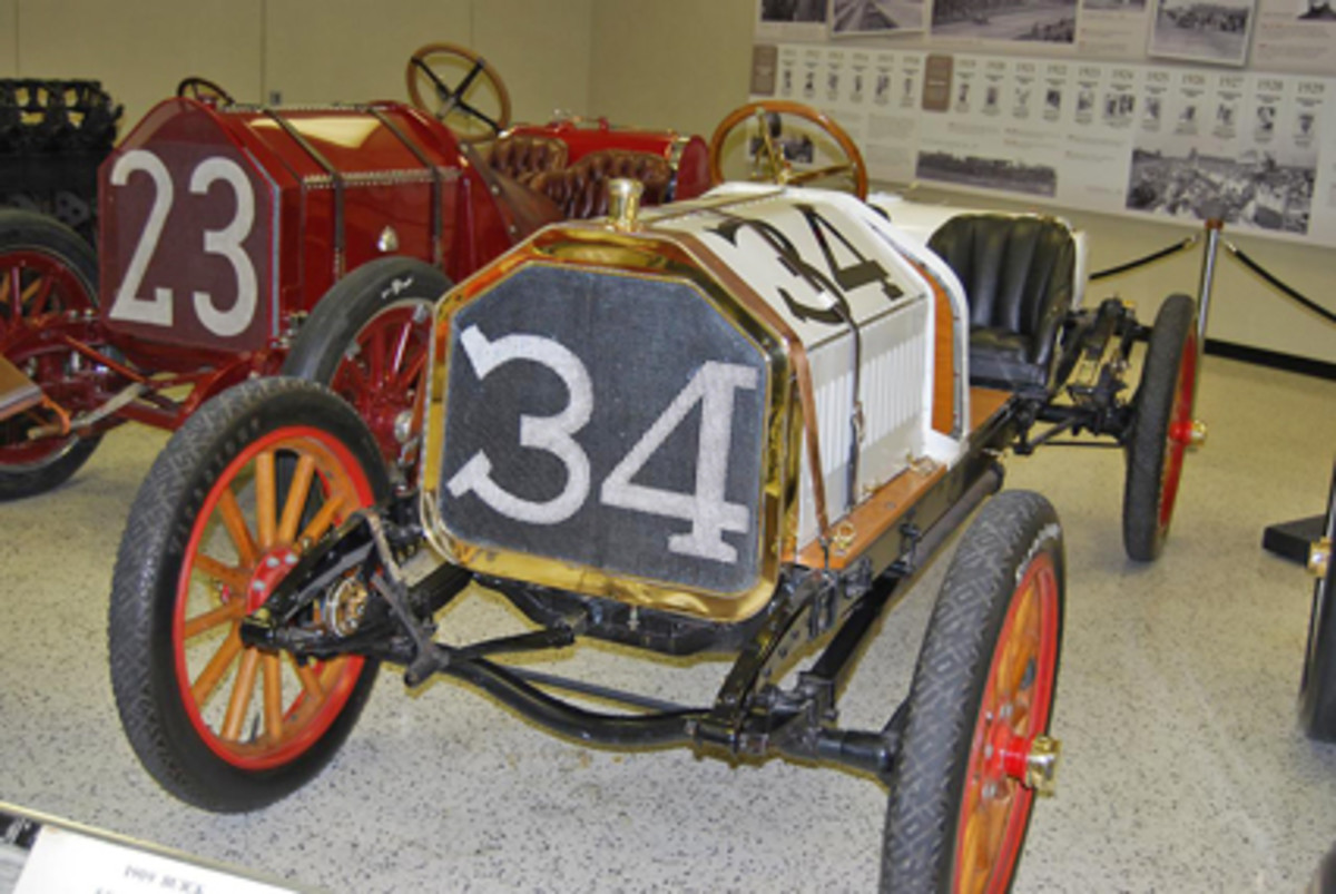 A 1909 Buick racing car. Racing played a big part in early Buick history.