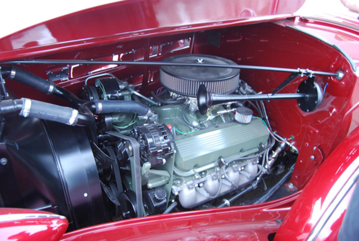 A powerful V-8 looks right at home in the engine bay.
