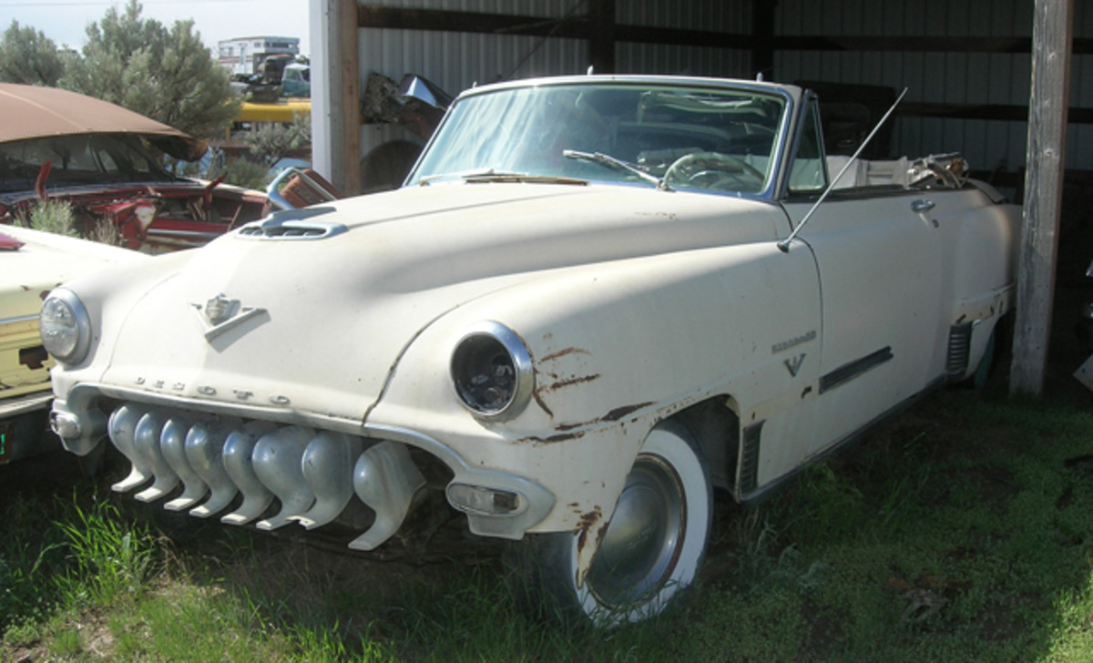 De Soto built only 1,700 Firedome convertibles in 1953. Though this one is missing its bumper and select trim, it's solid and worthy of restoration.