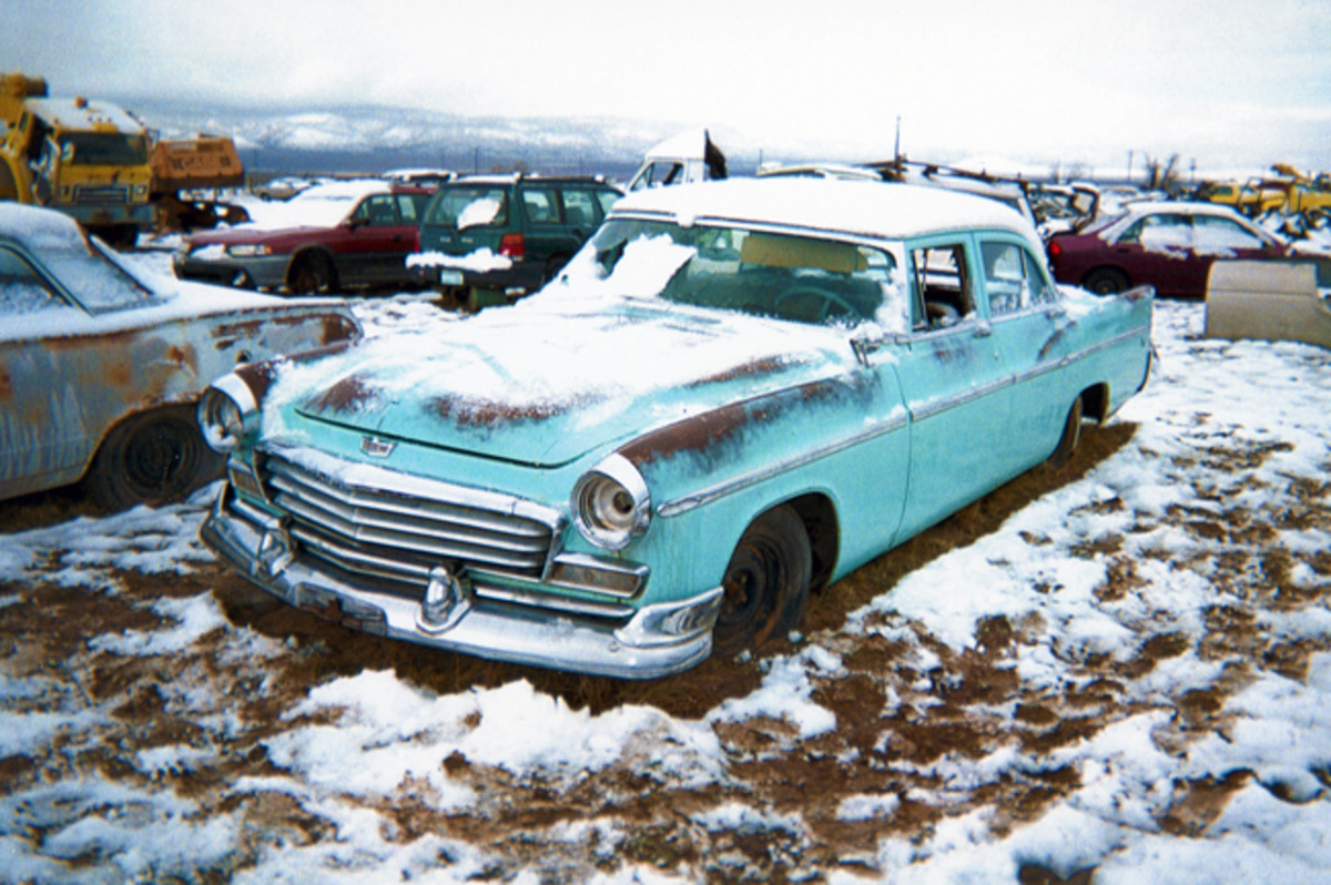 Rust-free and with exceptional brightwork, this 1956 Chrysler Windsor sedan seems to be in relatively good condition. It also showcases Chrysler's debut year of its across-the-board 12-volt electrical system.