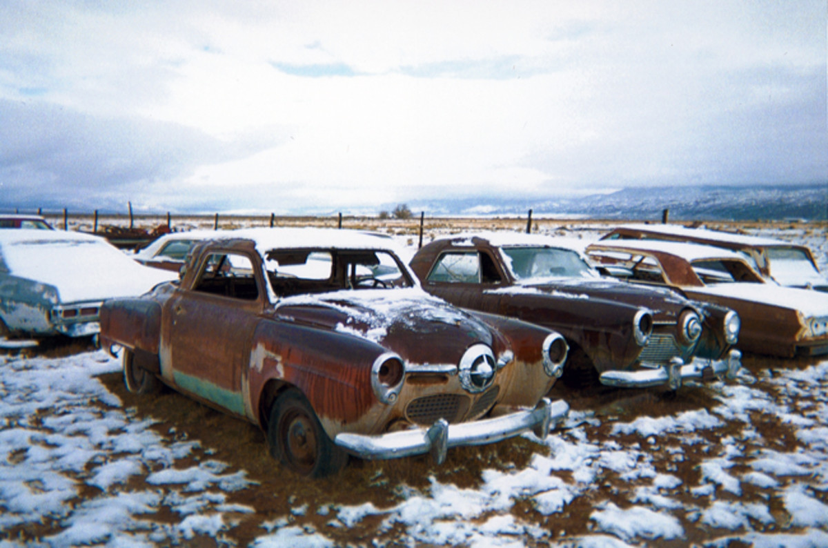 "A pair of ""bullet nose"" Studebaker Champion coupes, from (left) 1950 and (right) '51; each offer a rust-free start to making them roadworthy. Sewer Flats Salvage has a depth of multiples of select models."