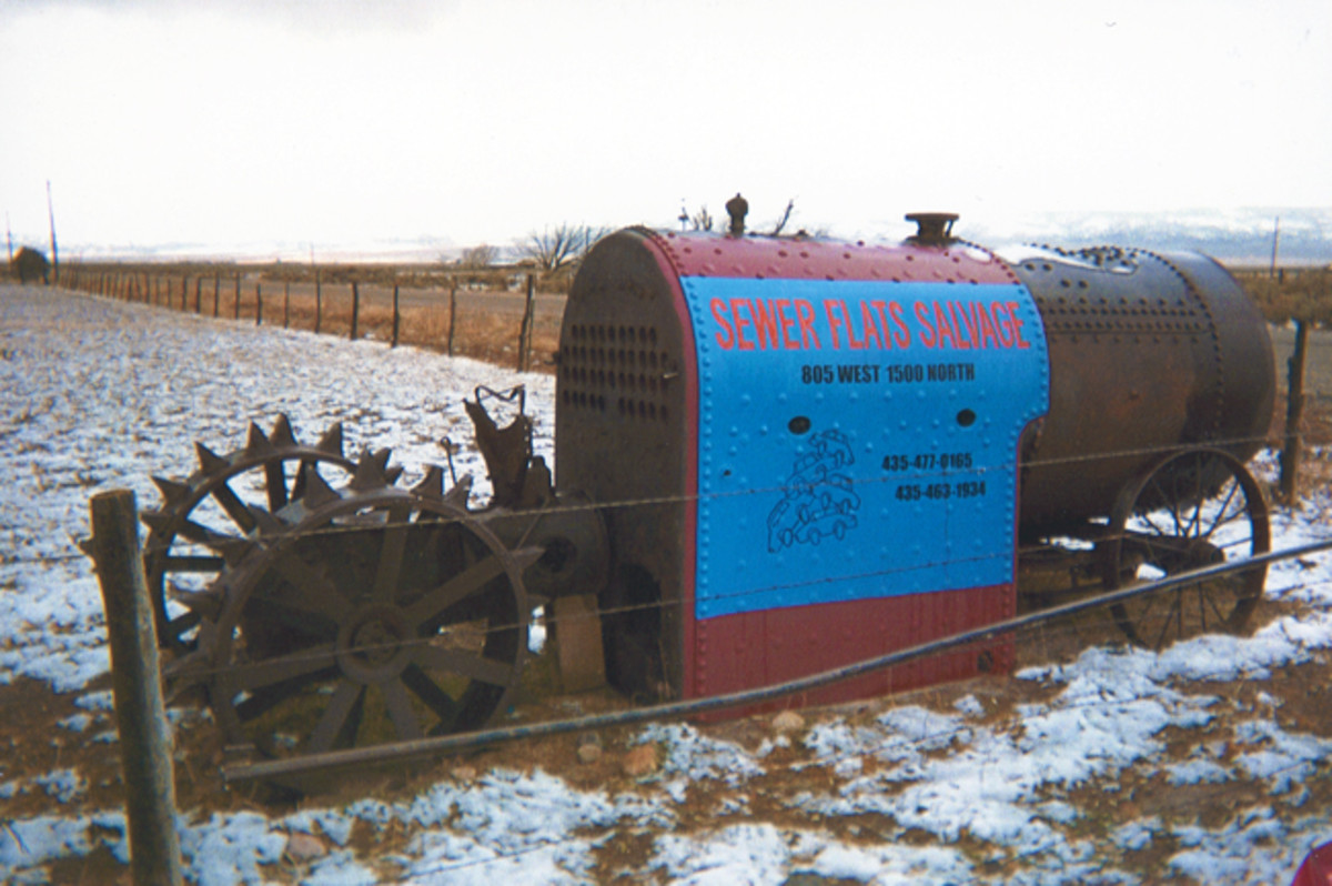 The entrance to Sewer Flats Salvage in Paragonah, Utah, cannot be missed. It is marked by this vintage steel-wheeled tractor.