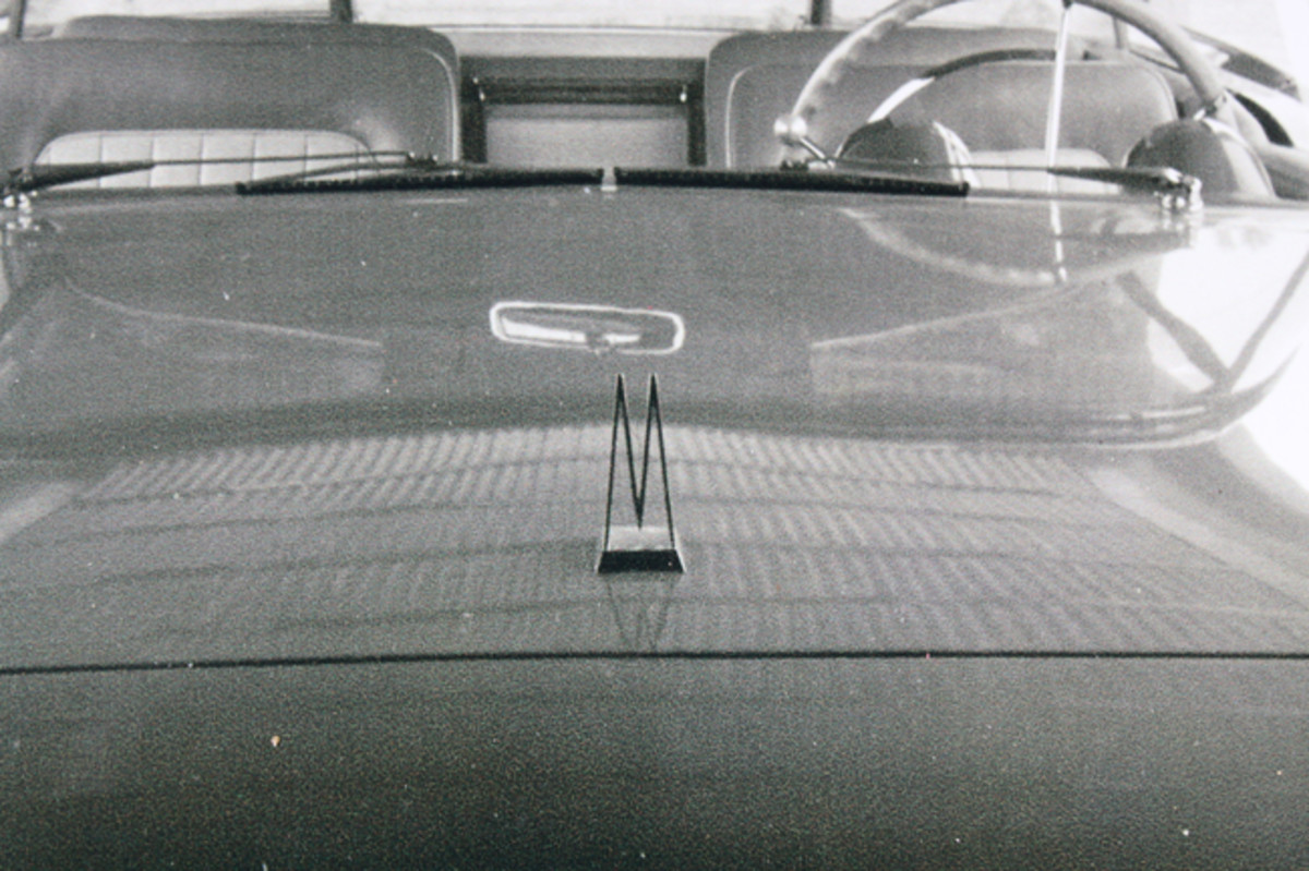 A view of the original (but now missing) original hood ornament while on the XM-Turnpike Cruiser.