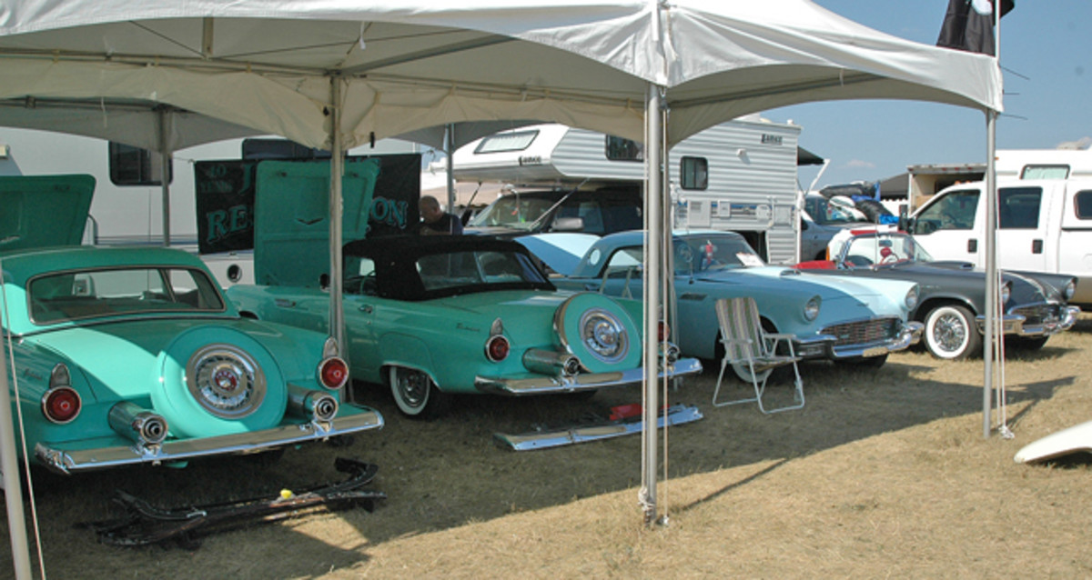 It look more like a scene out of a car show than a swap meet, but Jewel's Body Shop brought four first-gen T-birds to Iola's swap meet to show off its restoration skill on 1955-'57 Thunderbirds.
