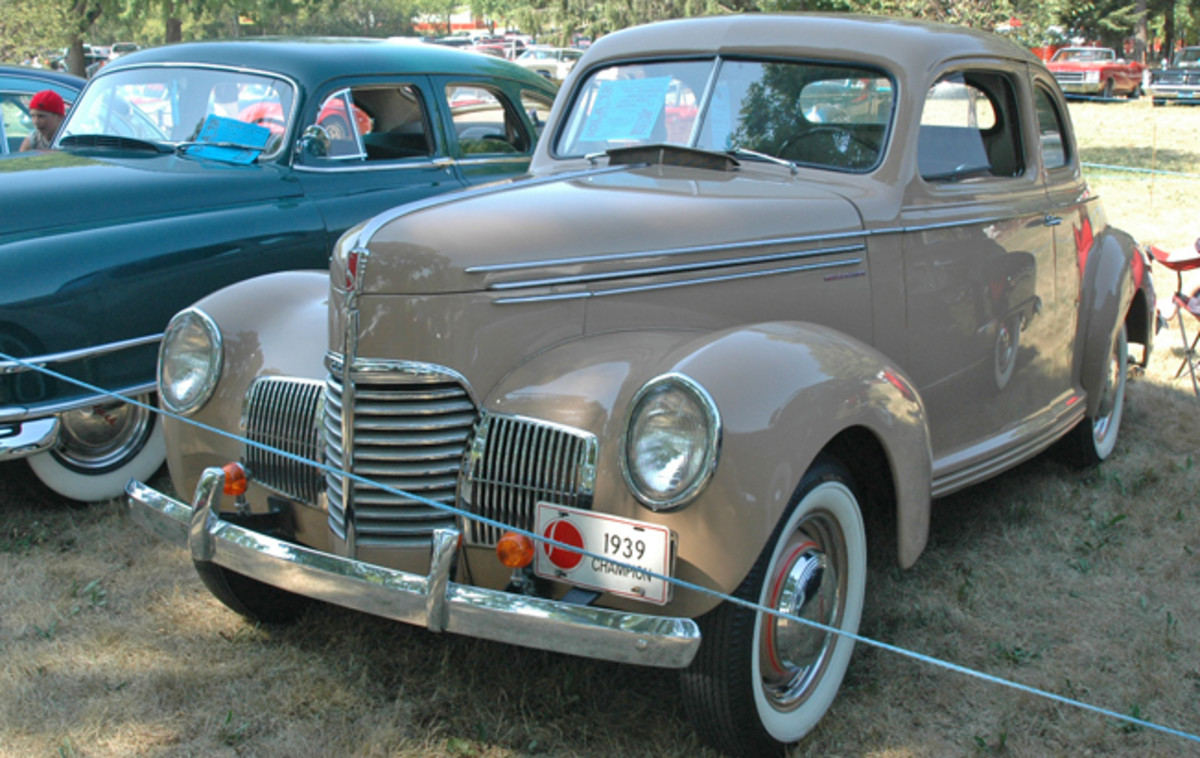 All the way from Davenport, Iowa, Alvin and Marie Elmore brought their 1939 Studebaker Champion coupe.