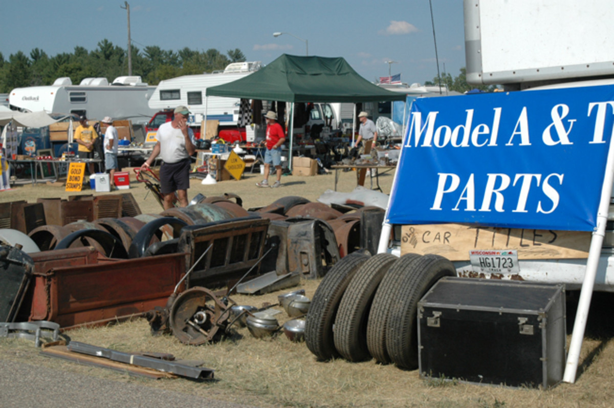 Ford Model T and Model A parts are plentiful at Iola. This vendor had fenders and other sheet metal galore.