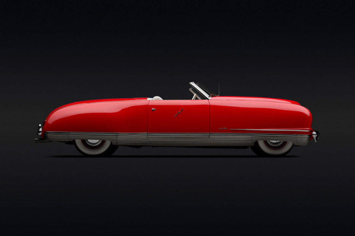Chrysler Thunderbolt Roadster, 1941. Photo: Peter Harholdt. (Courtesy of Roger Willbanks)With its smooth, aerodynamic body shell; hidden headlights; enclosed wheels; and a retractable, one-piece metal hardtop (an American first), this stunning roadster hinted that tomorrow's Chryslers would leave their angular, upright, and more prosaic rivals in the dust. Dramatically modern, the five Thunderbolts built were critically acclaimed, but a high price tag deterred buyers. Some of the Thunderbolt's advanced features found their way into post-WWII production Chryslers.
