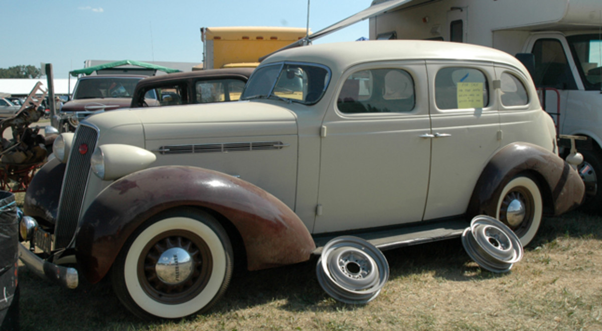 For just $7,500, this solid old Studebaker could be yours. The swap meet find was a 1936 Dictator model and looked just to need a dusting and a driver.