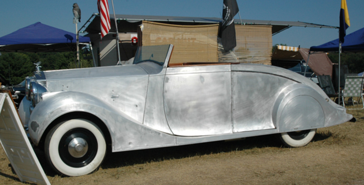 Its aluminum coachwork by Vincents of Reading exposed by stripped paint, this 1948 Rolls-Royce Silver Wraith had a six-cylinder R-R engine and a C-6 transmission with a $29,500 price tag.