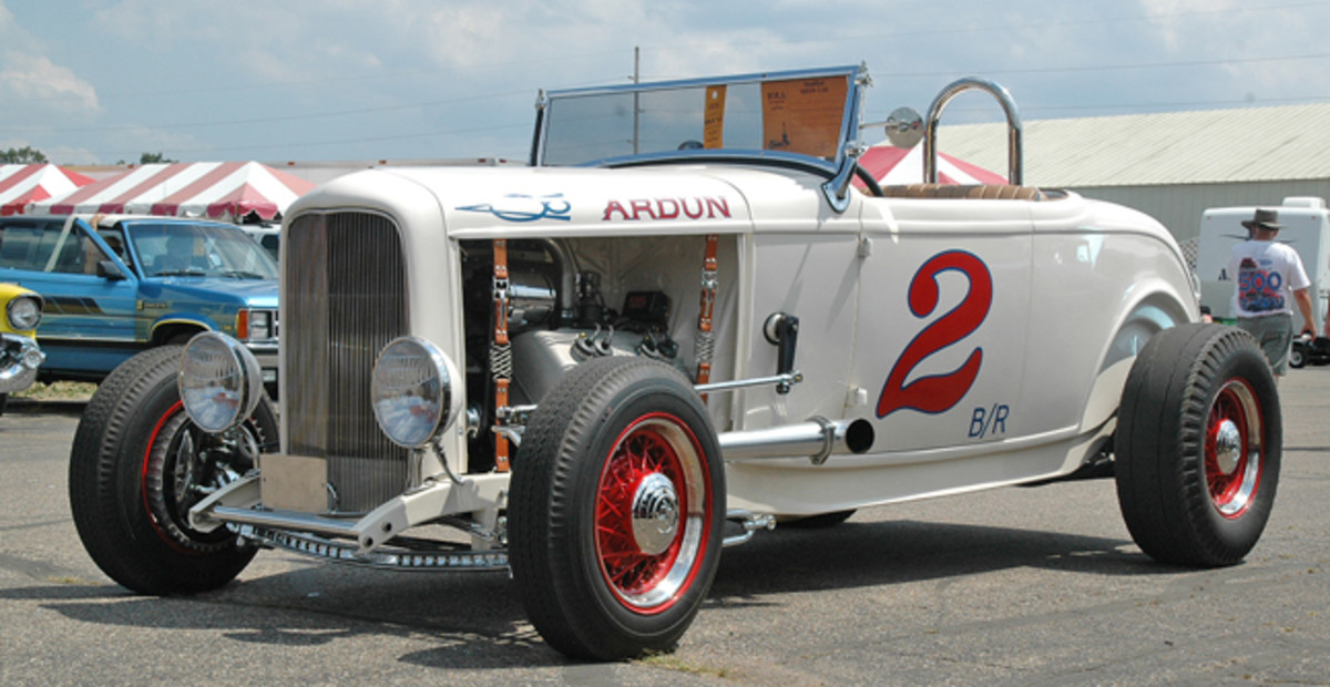 Sporting Ardun overhead-valve heads on its 1946 flathead, Bob and Diana Anderson's 1932 Ford highboy roadster looked ready to run on the salt or the street. The couple brought their Deuce all the way up to Iola from Tampa, Fla.