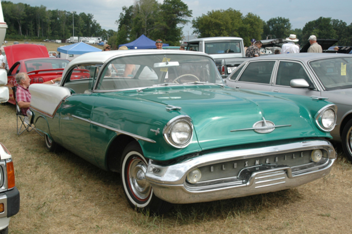 At $12,500, this driver-quality 1957 Oldsmobile Super 88 Holiday coupe was a lot of car for the money.