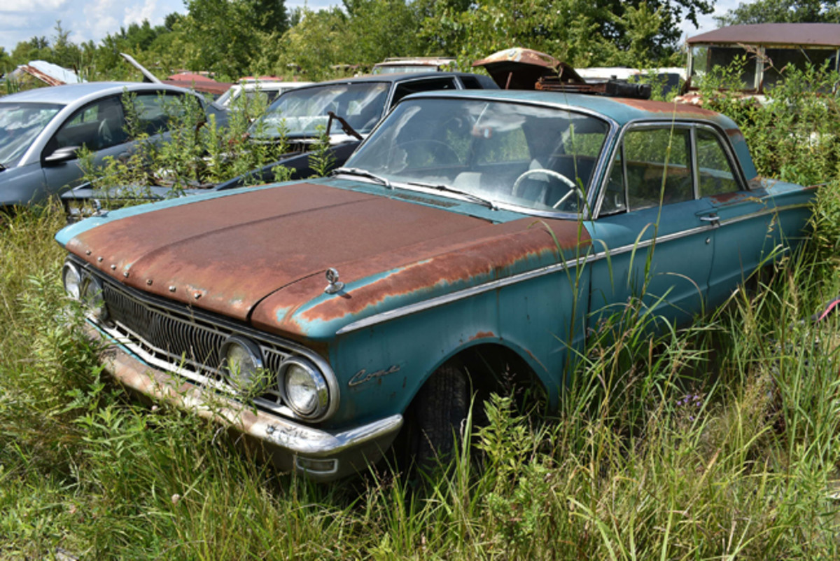 A complete car that could go back on the road, this 1962 Mercury Comet sedan awaits at Purdin's.