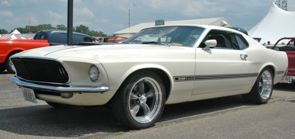 """Iola corrals a hefty number of pony cars, from Shelbys to Mach 1's to Bosses, but one of the most unusual of them all is this chopped restomod 1969 SportsRoof that's been chopped and dubbed """"Chop 1."""""""