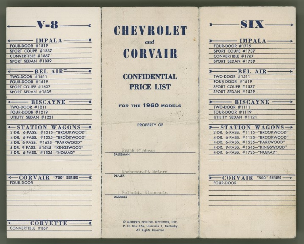 Front of the 1960 Chevrolet and Corvair confidential price list. Note the dealer price is included, along with the retail price.
