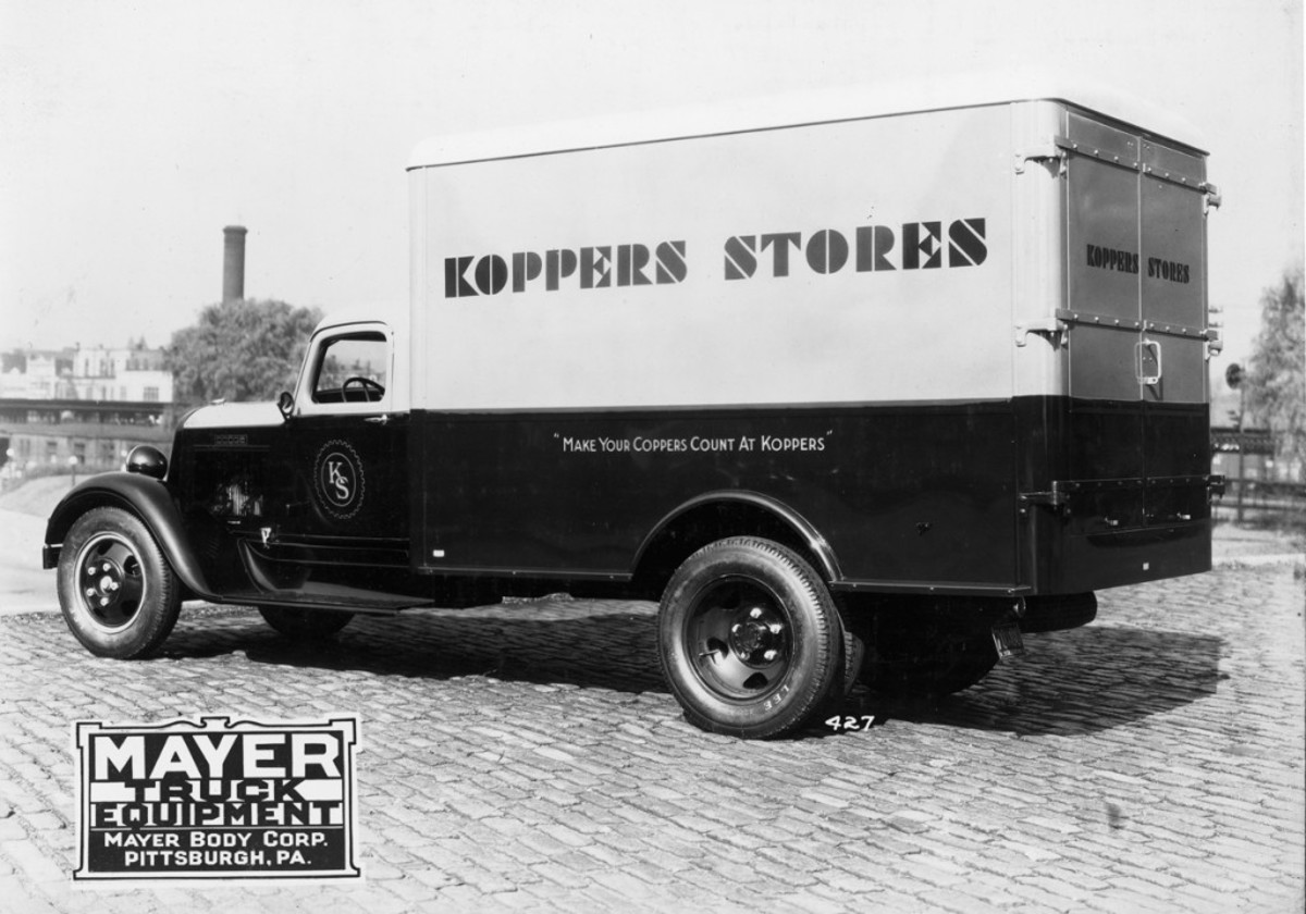 """This K-34 Dodge chassis, circa 1936, wears a semi-deluxe panel body on the rig's 162-inch wheelbase. Among the body features Mayer Body Corp. noted were the wheel housings and rear guards, double full-length rear doors and an interior dome light. The combination Dodge truck and Mayer body were employed by Koppers Stores, which had its Depression-savvy logo — """"Make your coppers count at Koppers"""" — painted on the side of the body."""