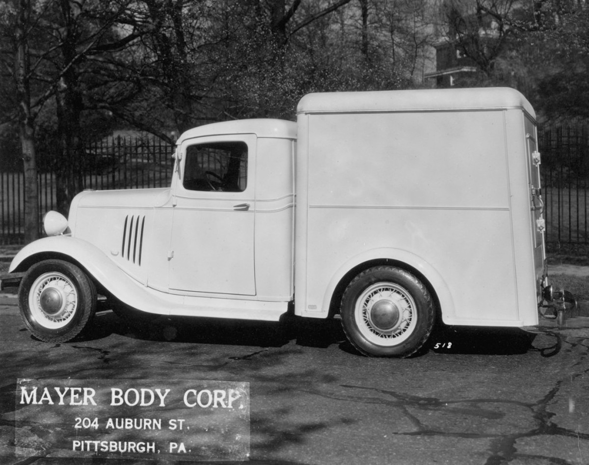 Mayer Body Corp. mounted its semi-deluxe ice cream refrigerator body on this Chevrolet, which it called a 3/4-ton 1936 Chevrolet chassis with a 112-inch wheelbase (we believe it's actually a 1935 EB 1/2-ton Chevrolet). The body behind the cab held 120 gallons of ice cream, and Mayer also noted the body, cab, hood and fenders were painted cream.