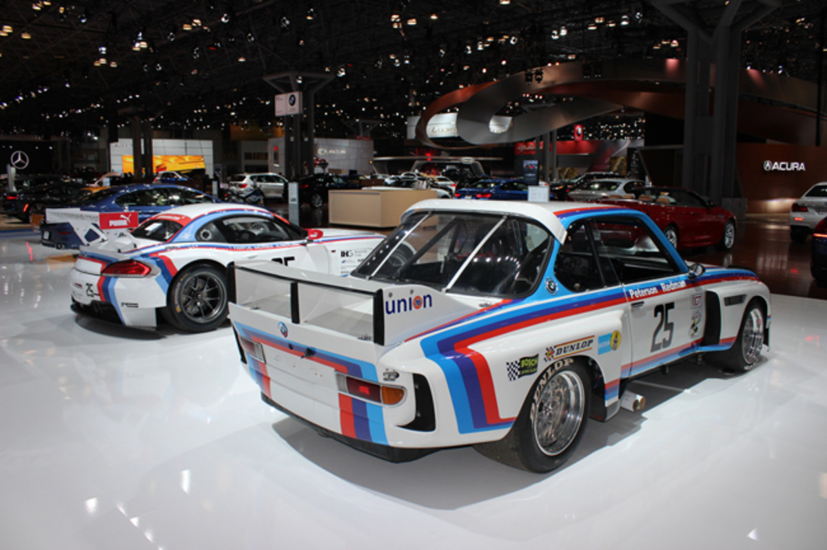 "BMW North America's 40th anniversary as the brand's U.S. distributor was fondly recalled at Javits by this whale-tailed 3.0 CSL ""lightweight"" that was one of five factory-campaigned on the IMSA circuit in 1975 and 1976. Skilled driving by Hans Stuck, Sam Posey, Brian Redman, Ronnie Peterson, Dieter Quester, Benny Parsons, Peter Gregg and David Hobbs snared victories at Sebring, Laguna Seca, Riverside, Daytona, Lime Rock and Talladega"