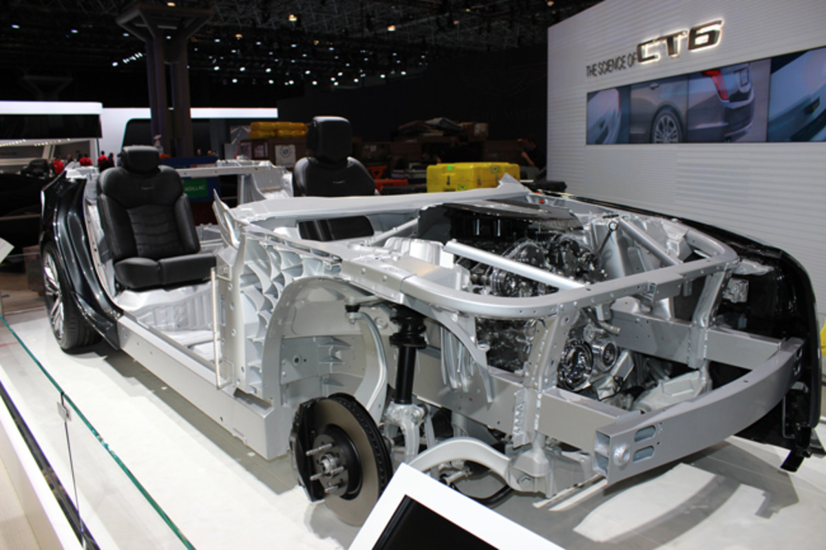 This intriguing cutaway of Cadillac's new CT6 sedan draws special attention to the high-pressure die-cast aluminum suspension mountings, whose egg crate-like structure allows the use of softer-riding springs that still deliver world class handling in concert with active rear wheel steering and magnetic fluid-filled dampers.