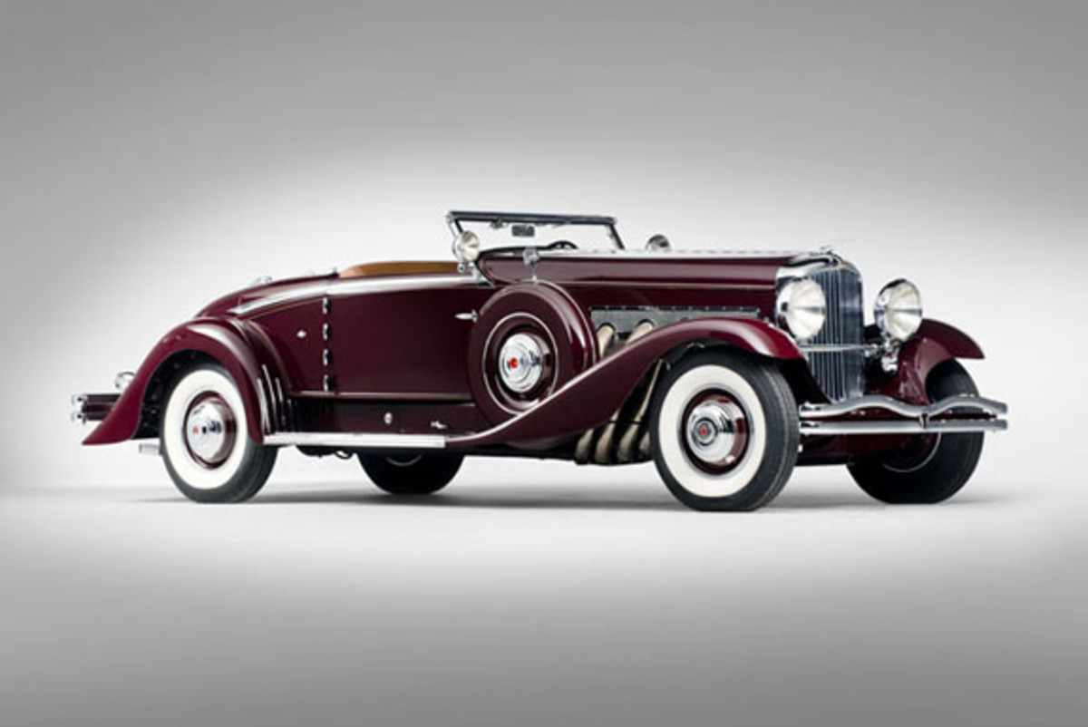 Supercharged 1935 Duesenberg Walker-LaGrande convertible coupe.