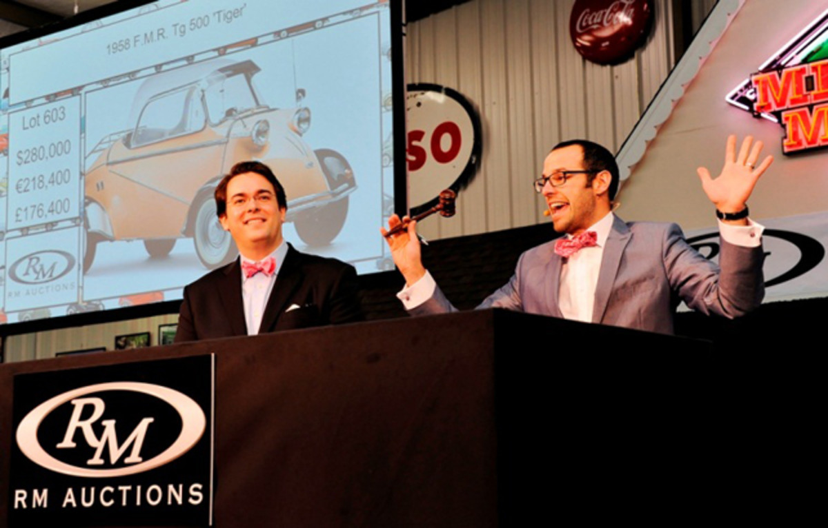 """Bidding under way on the 1958 F.M.R. Tg 500 """"Tiger"""". The car sold for a record $322,000 including buyer's premium (Eugene Robertson © 2013 courtesy RM Auctions)"""