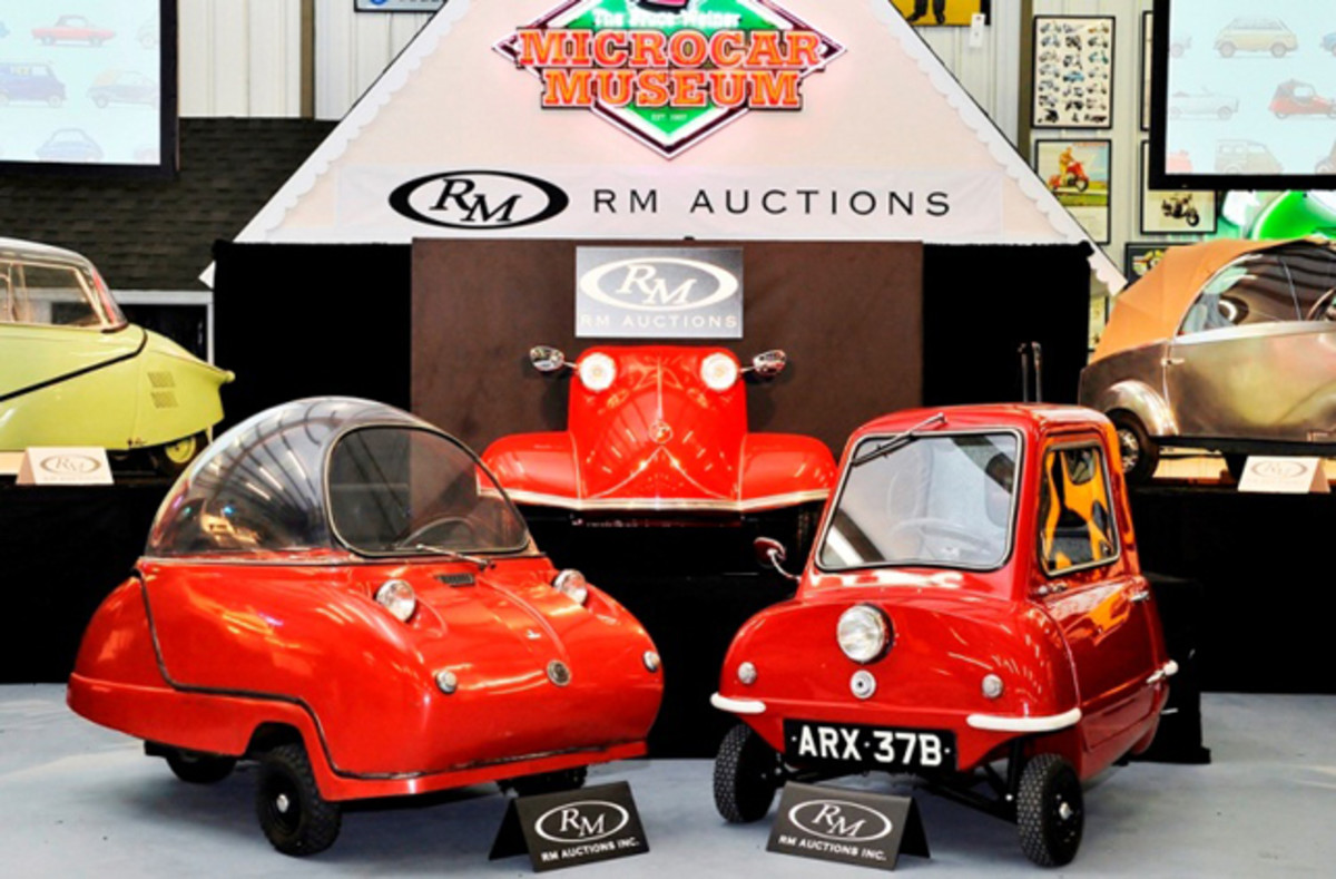 Big interest in little cars: A pair of Peels - 1966 Peel Trident (left) and a 1964 Peel P50 (right) - at RM's Bruce Weiner Microcar Museum sale (Eugene Robertson © 2013 courtesy RM Auctions)